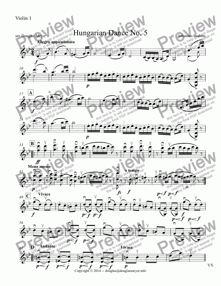 page one of the Violin 1 part from Hungarian Dance No. 5