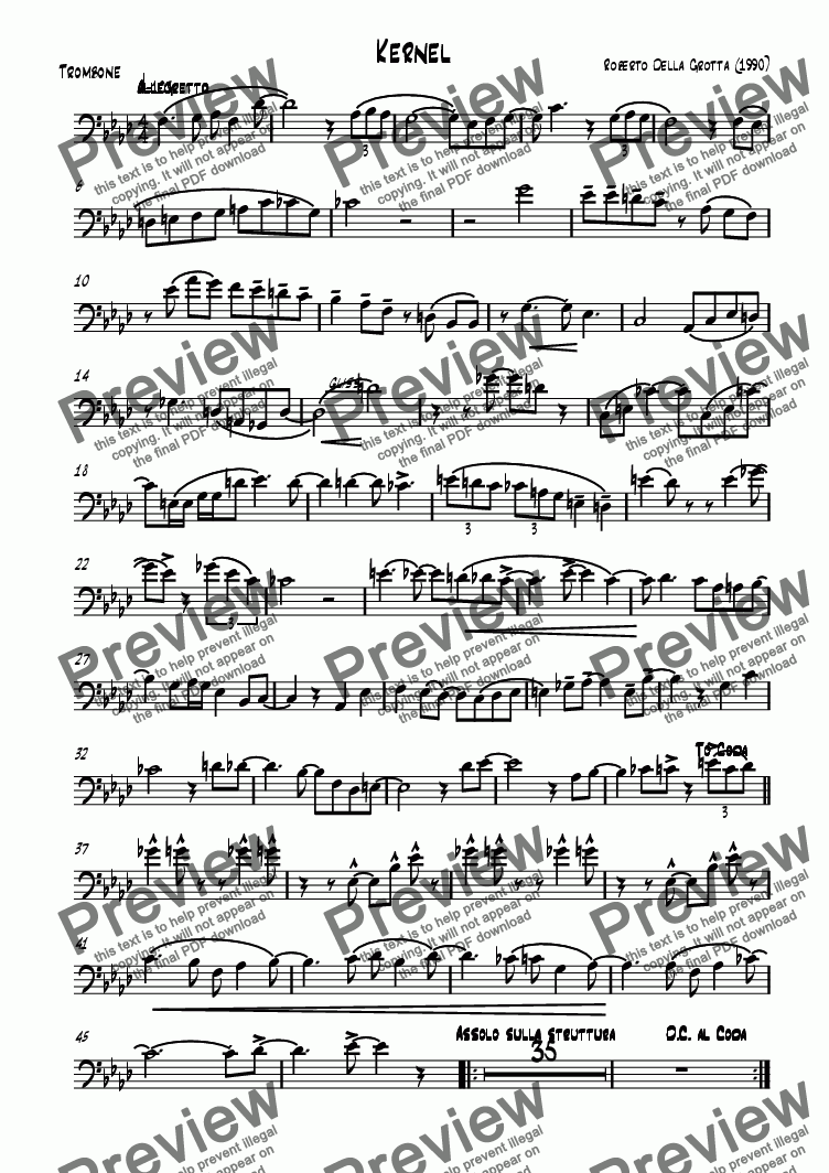 page one of the Trombone part from Kernel