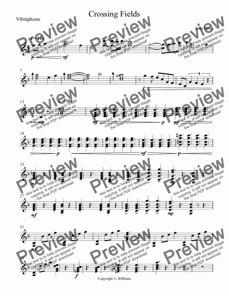 page one of the Vibraphone part from Crossing Fields