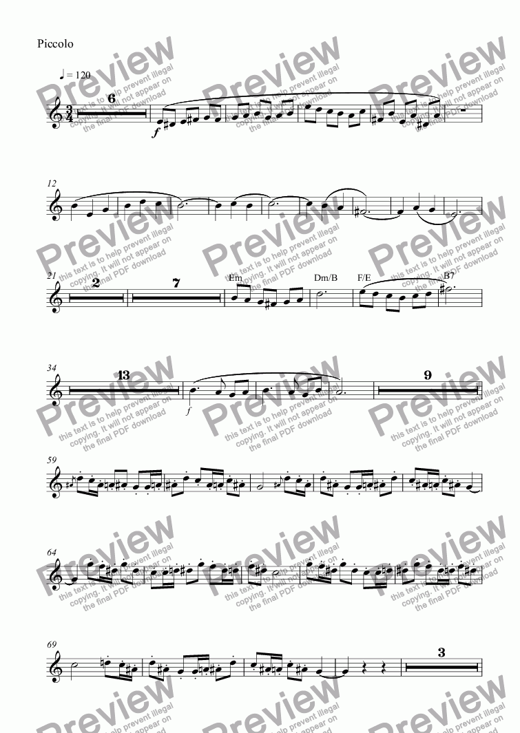 page one of the Piccolo part from El destino de Aislinn