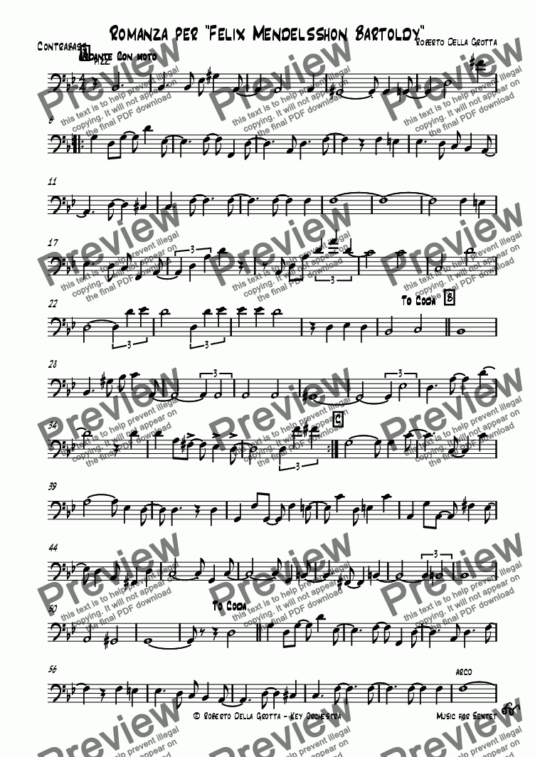 page one of the Contrabbasso part from Romanza per Felix (sextet)