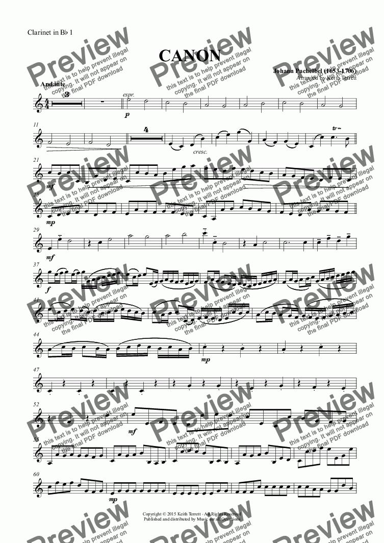 page one of the Clarinet in B^b 1 part from Pachelbel's Canon in D for Clarinet Octet