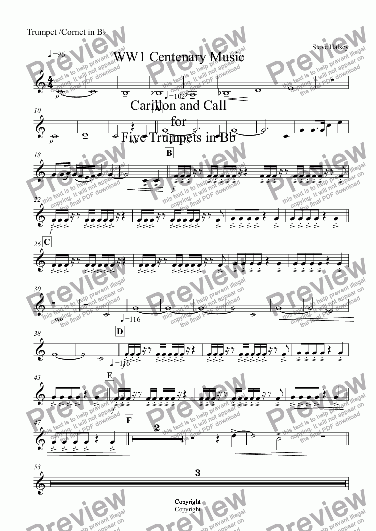 page one of the Trumpet /Cornet in B^b part from WW1 Centenary Music   Carillon and Call for Five Trumpets in Bb