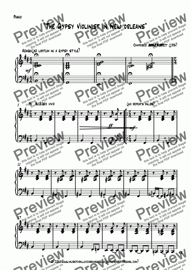 page one of the Piano part from The Gypsy Violinist in New Orleans ( B minor)