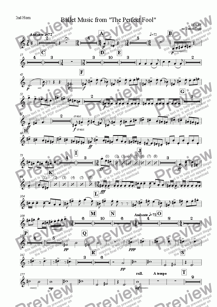"page one of the 2nd Horn part from Ballet Music from ""The Perfect Fool"""