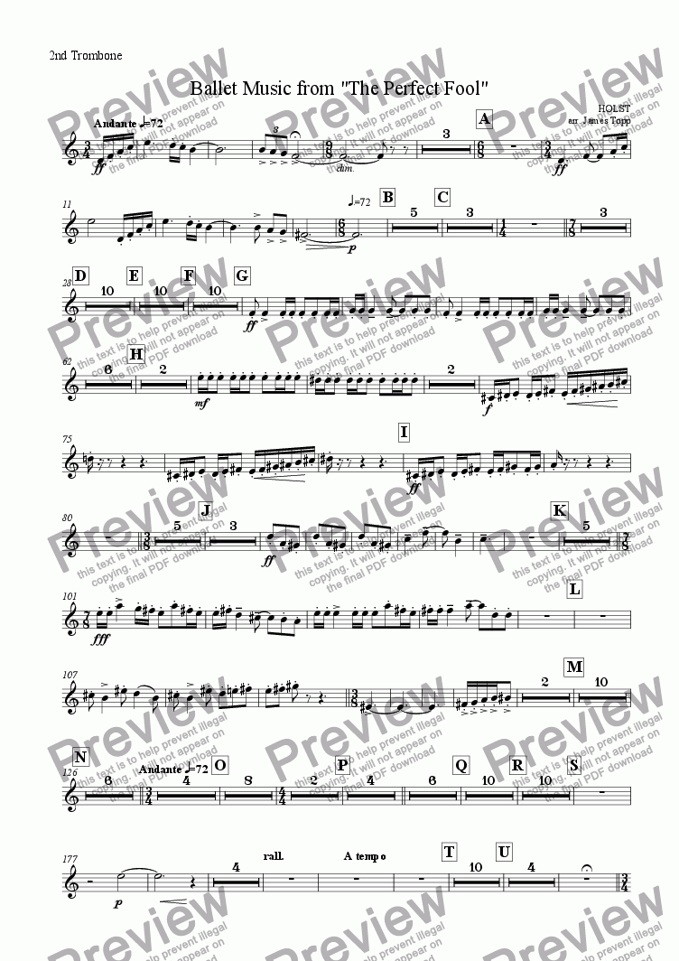 "page one of the 2ndTrombone part from Ballet Music from ""The Perfect Fool"""