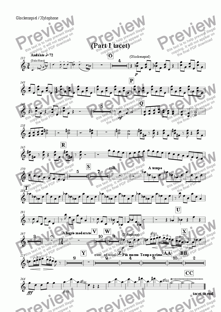 "page one of the Glockenspiel / Xylophone part from Ballet Music from ""The Perfect Fool"""