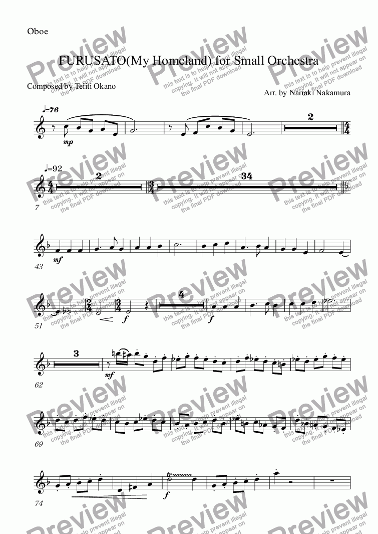 page one of the Oboe part from FURUSATO(My Homeland) for Small Orchestra