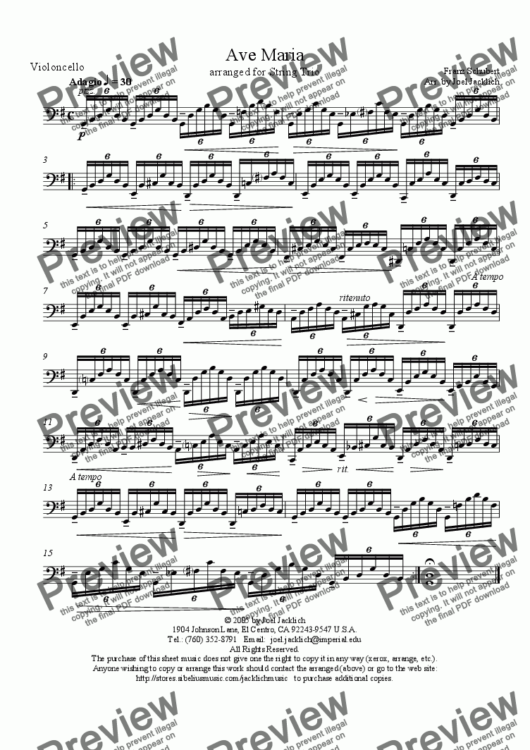 page one of the Cello part from Ave Maria (String Trio w/solo in violin) G
