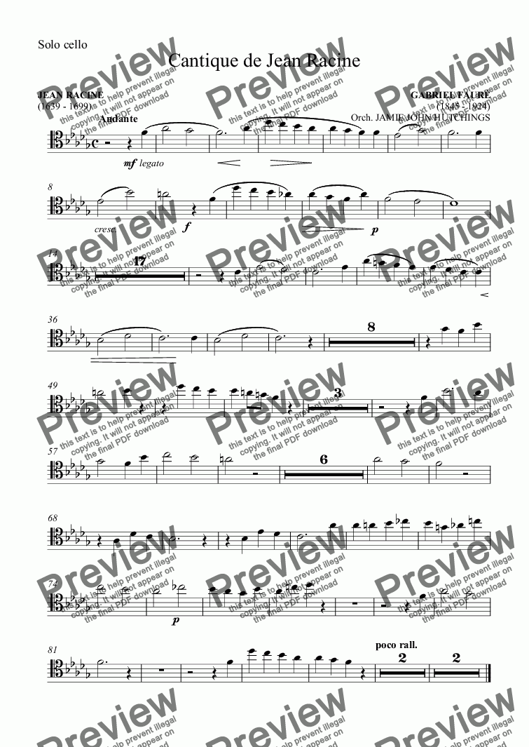 page one of the Versions 1 & 2 - Solo cello part from Fauré - Cantique de Jean Racine [SATB & Orchestra]