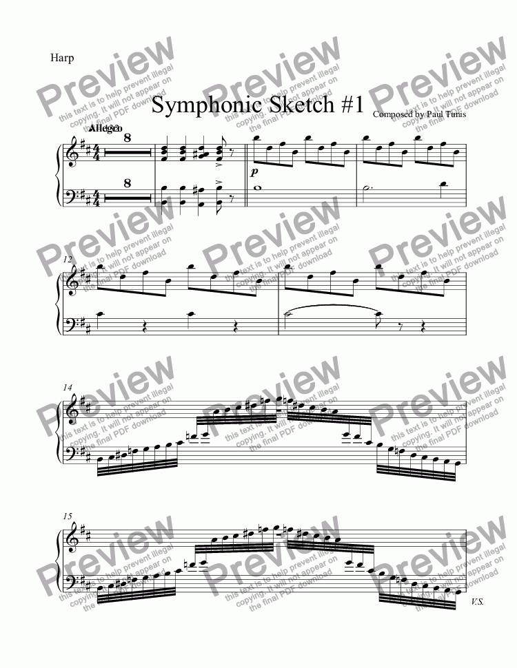 page one of the Harp part from Symphonic Sketch #1