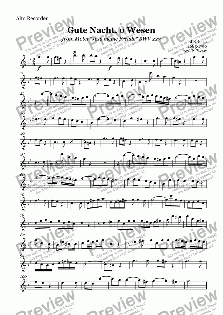 page one of the Alto Recorder part from Gute Nacht, o Wesen (Bach)