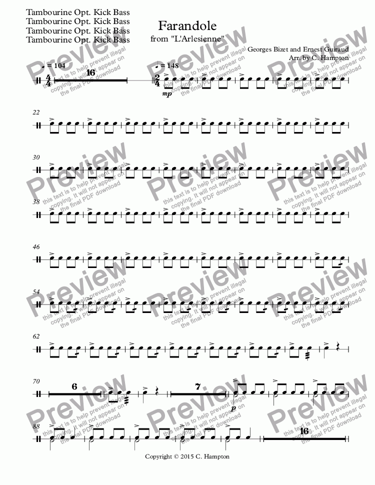 "page one of the Tambourine Opt. Kick Bass part from Farandole from ""L'Arlesienne"" for double reed quartet"