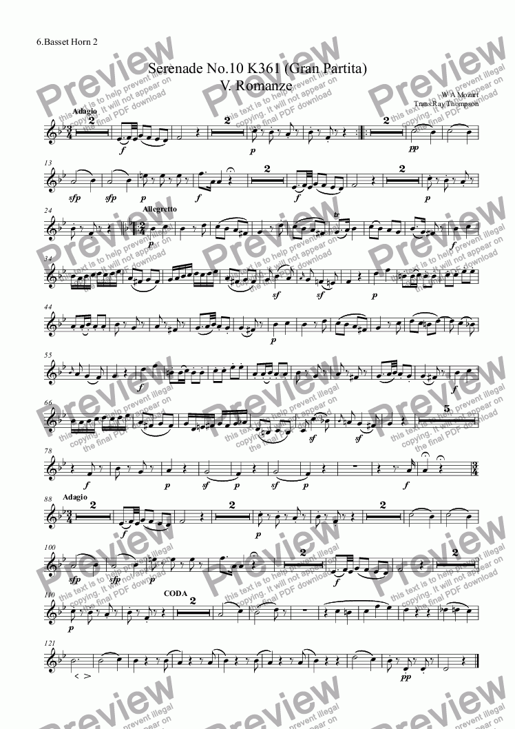 page one of the 6.Basset Horn 2 part from Mozart: Serenade No.10 K361 (Gran Partita) V. Romanze