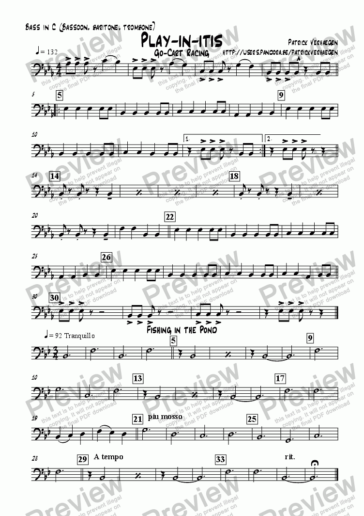 page one of the bass in C: bassoon, trombone, baritone part from Playinitis (for youth band)