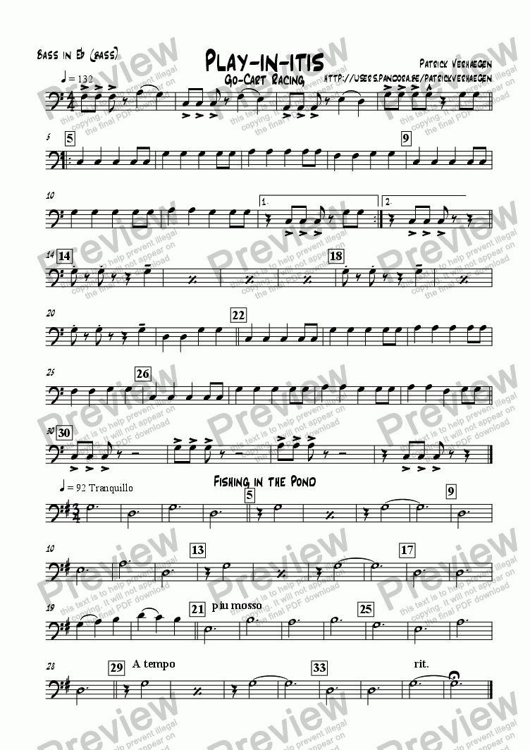 page one of the bass in Eb (bc): bass part from Playinitis (for youth band)
