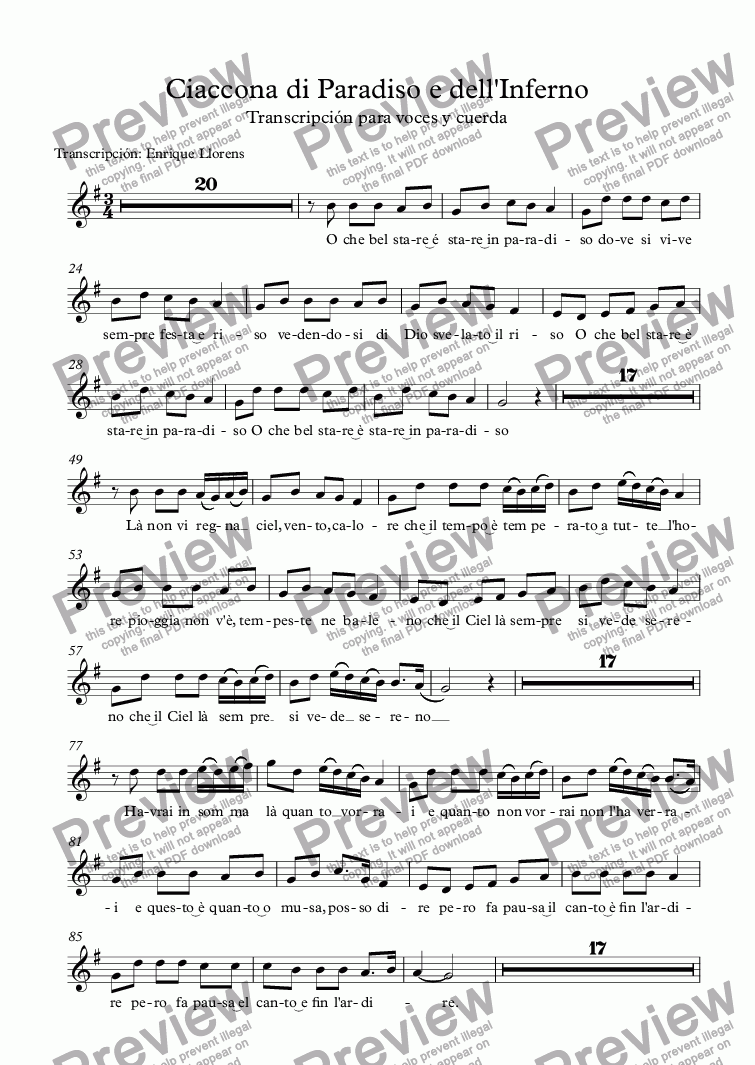 page one of the Soprano part from Ciaccona di Paradiso e dell'Inferno
