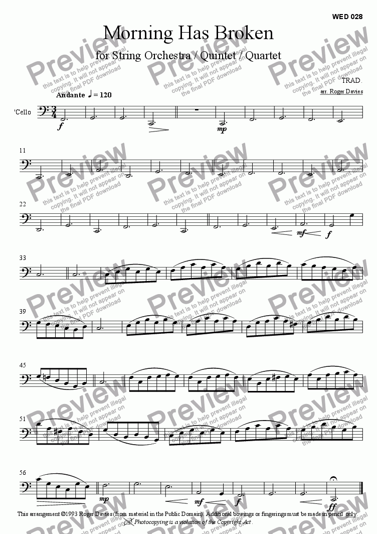 page one of the Cello part from Morning Has Broken