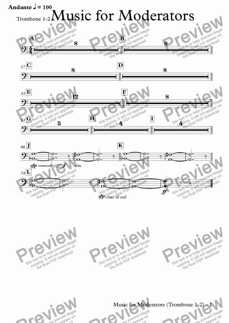 page one of the Trombone 1-2 part from Music for Moderators (orchestra)