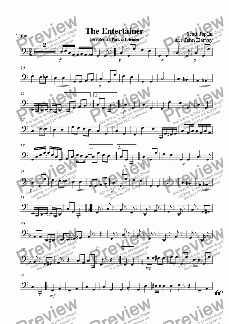 page one of the Tuba part from The Entertainer