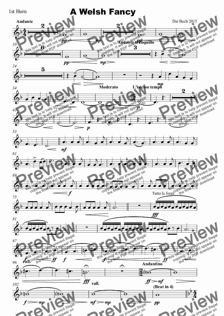 page one of the 1st Horn part from A Welsh Fancy