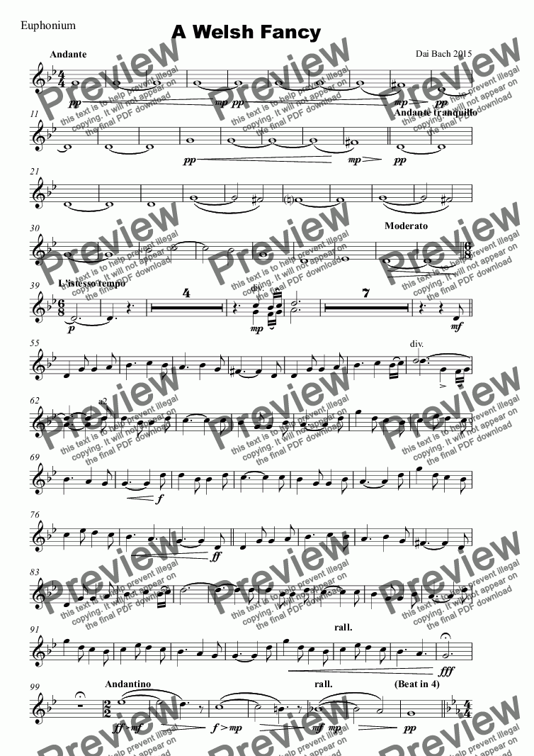 page one of the Euphonium part from A Welsh Fancy