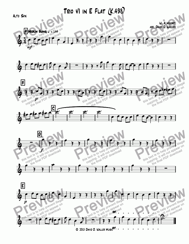 page one of the Alto Sax part from Trio VI in E Flat (K.498)