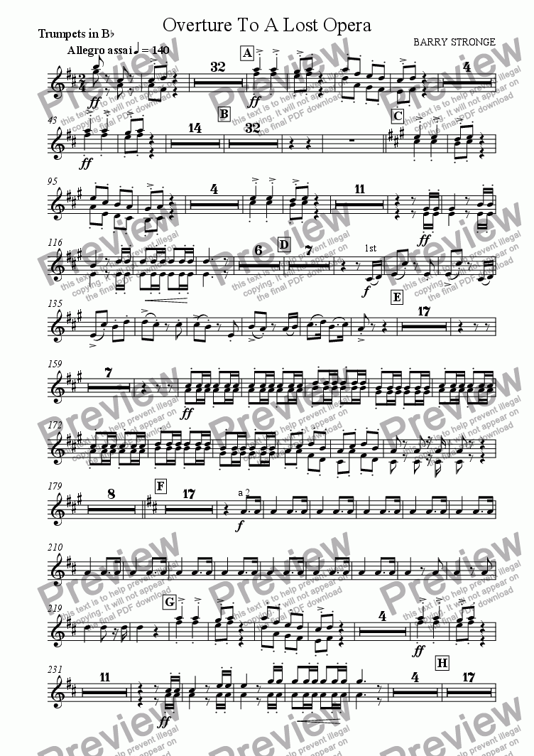 page one of the Trumpets in B-flat part from Overture To A Lost Opera