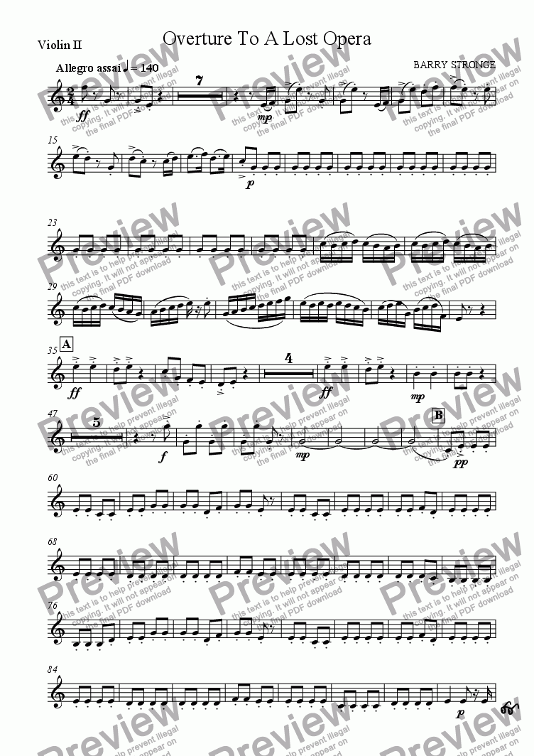 page one of the Violin 2 part from Overture To A Lost Opera