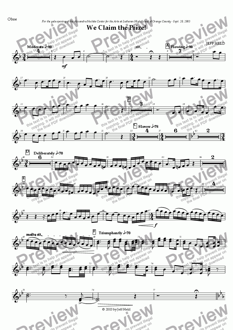 page one of the Oboe part from We Claim the Prize