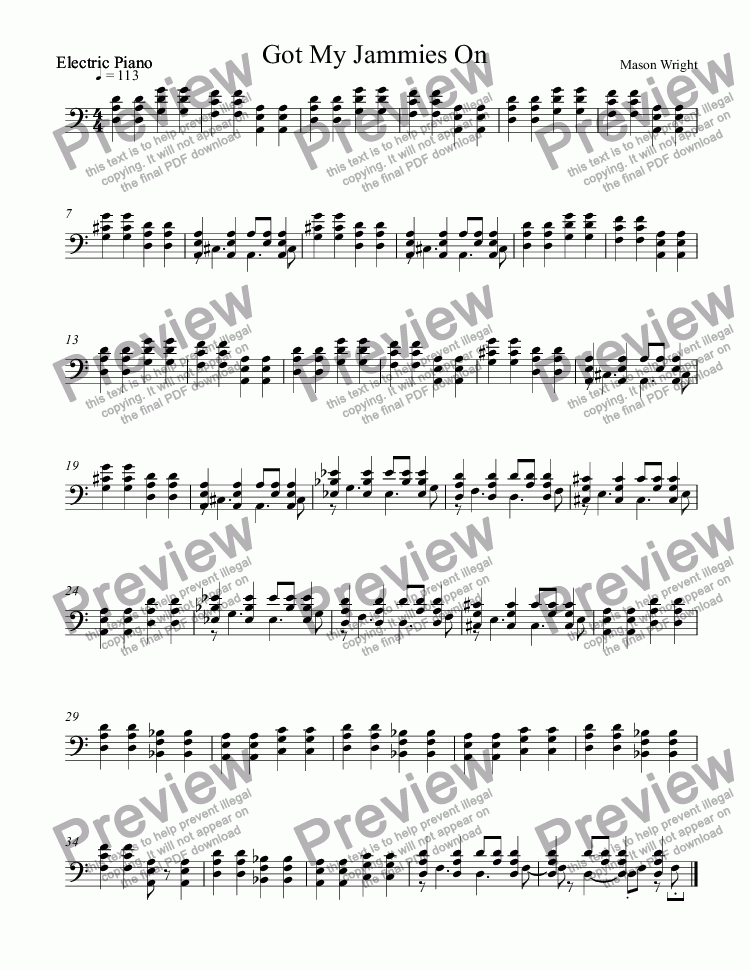 page one of the Electric Piano part from Got My Jammies On