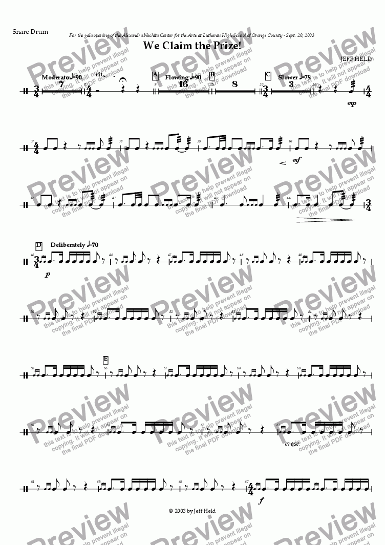 page one of the Snare Drum part from We Claim the Prize