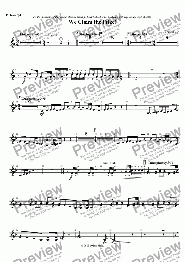 page one of the 3rd/4th French horn part from We Claim the Prize