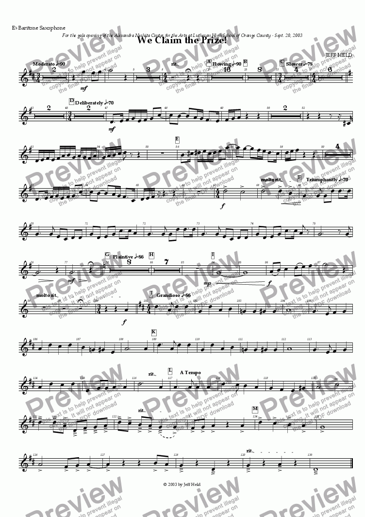 page one of the Baritone Saxophone part from We Claim the Prize