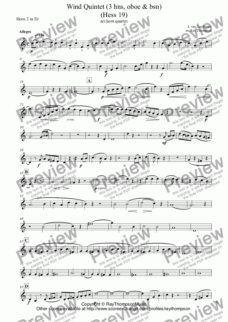 "page one of the Horn 2 in E^b part from Beethoven:Wind Quintet (""Horn Quintet"") (orig.3 hns, oboe & bsn) (Hess 19) arranged horn quartet"