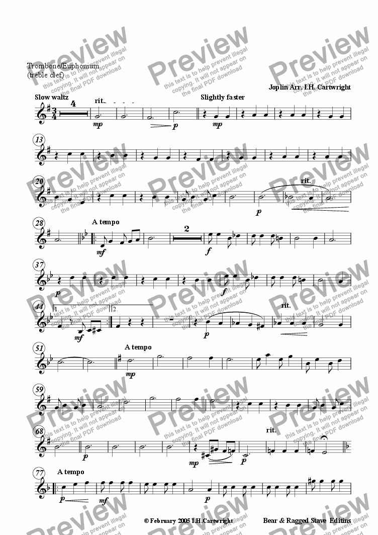 page one of the Trombone/Euphonium (treble clef) part from Bethena - a concert waltz for brass quintet