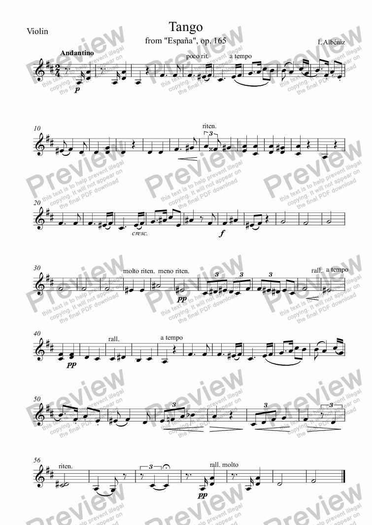 page one of the Violin part from Tango