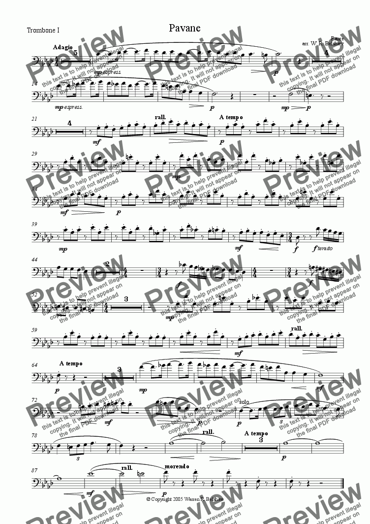 page one of the Trombone 1 part from Pavane (for brass 10-piece)