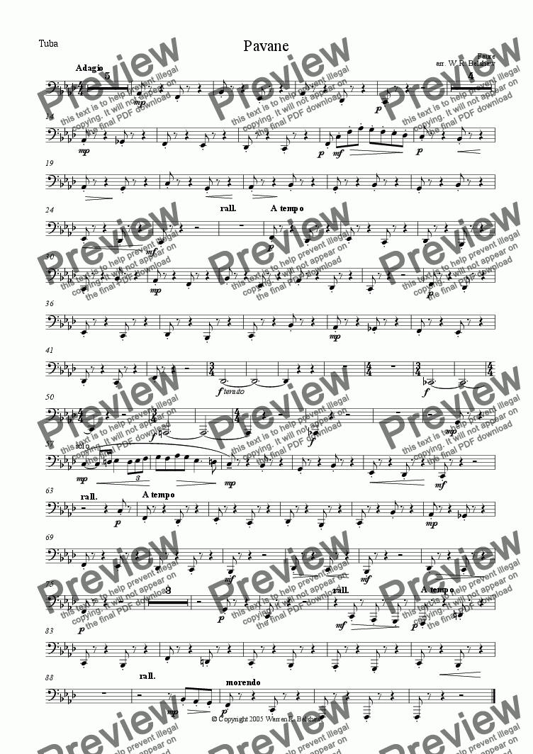 page one of the Tuba part from Pavane (for brass 10-piece)