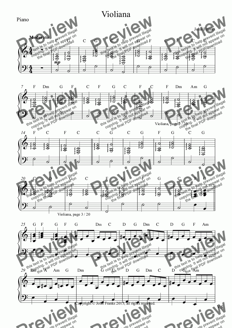 page one of the Piano part from Violiana