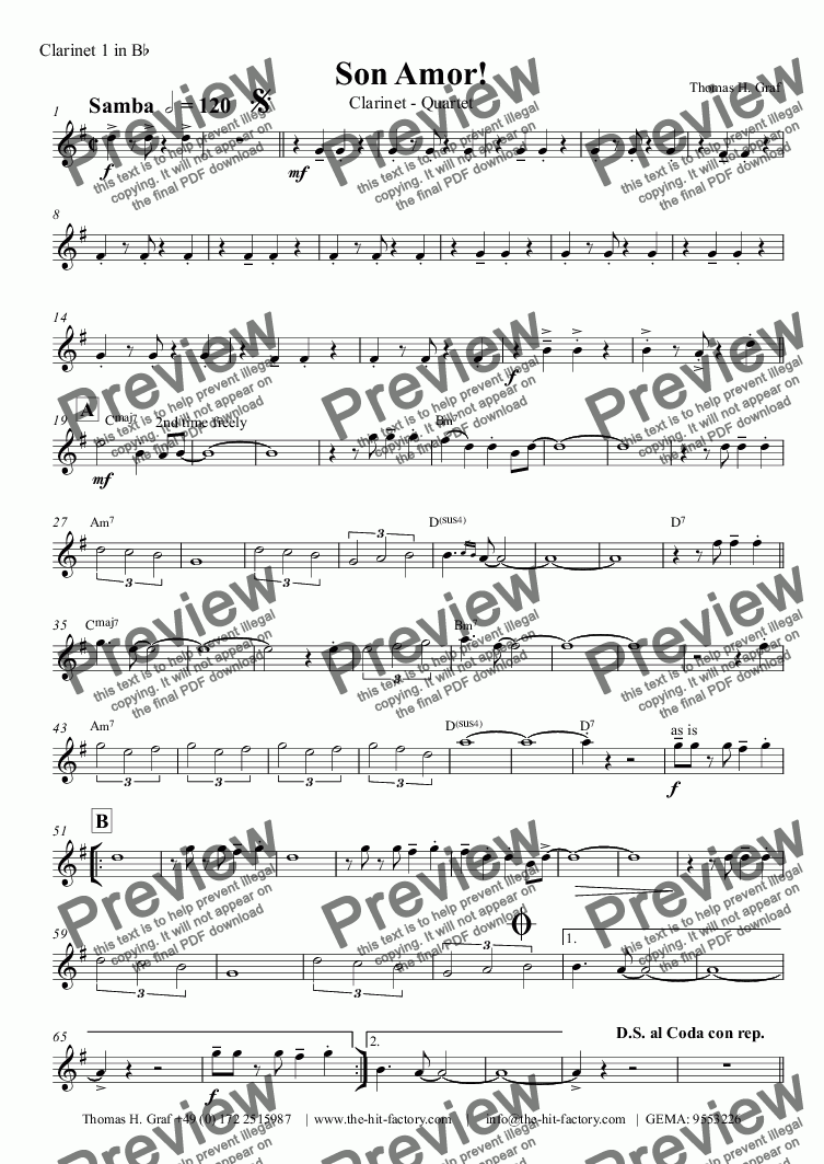 page one of the Clarinet 1 in B^b part from Son Amor! - Samba - Clarinet Quartet