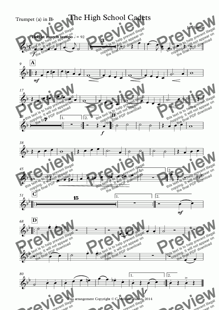 page one of the Trumpet (a) in B^b part from The High School Cadets