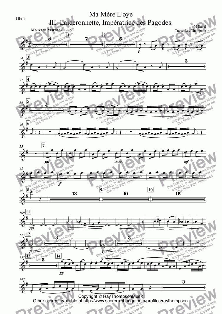 page one of the Oboe part from Ravel: Ma Mère L'oye (Mother Goose Suite) Mvt.III. Laideronnette, Impératrice des Pagodes. arr.wind quintet
