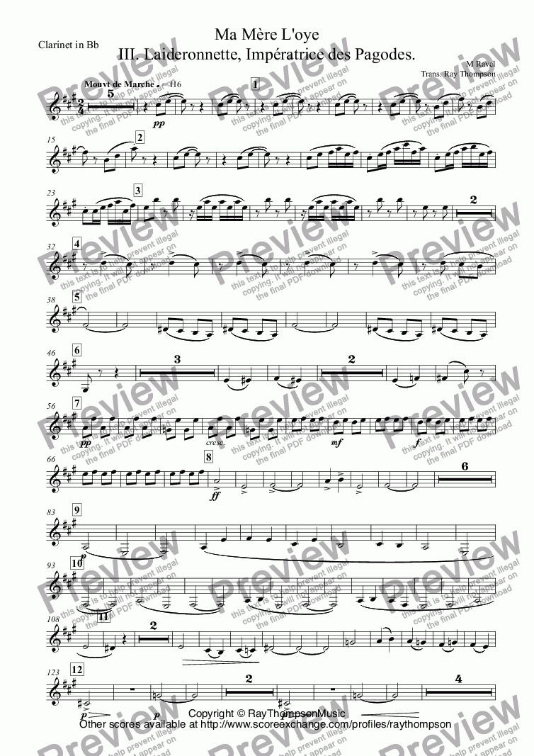 page one of the Clarinet in Bb part from Ravel: Ma Mère L'oye (Mother Goose Suite) Mvt.III. Laideronnette, Impératrice des Pagodes. arr.wind quintet