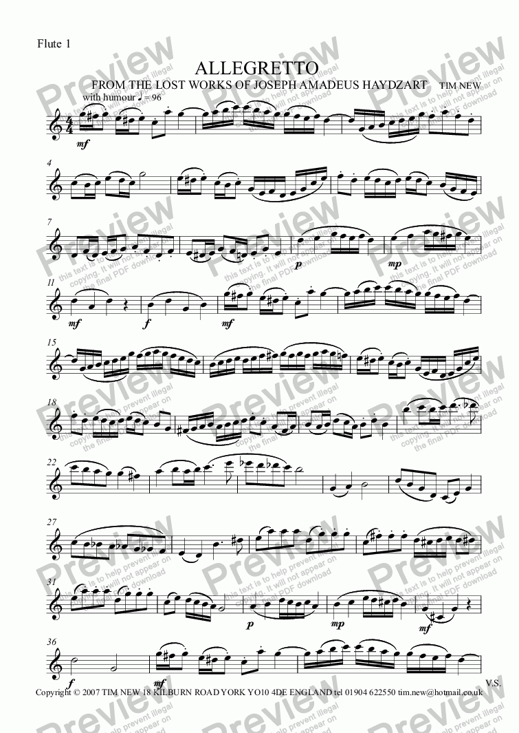 page one of the Flute 1 part from ALLEGRETTO for 2 flutes (oboes, violins) and 'cello (bassoon)