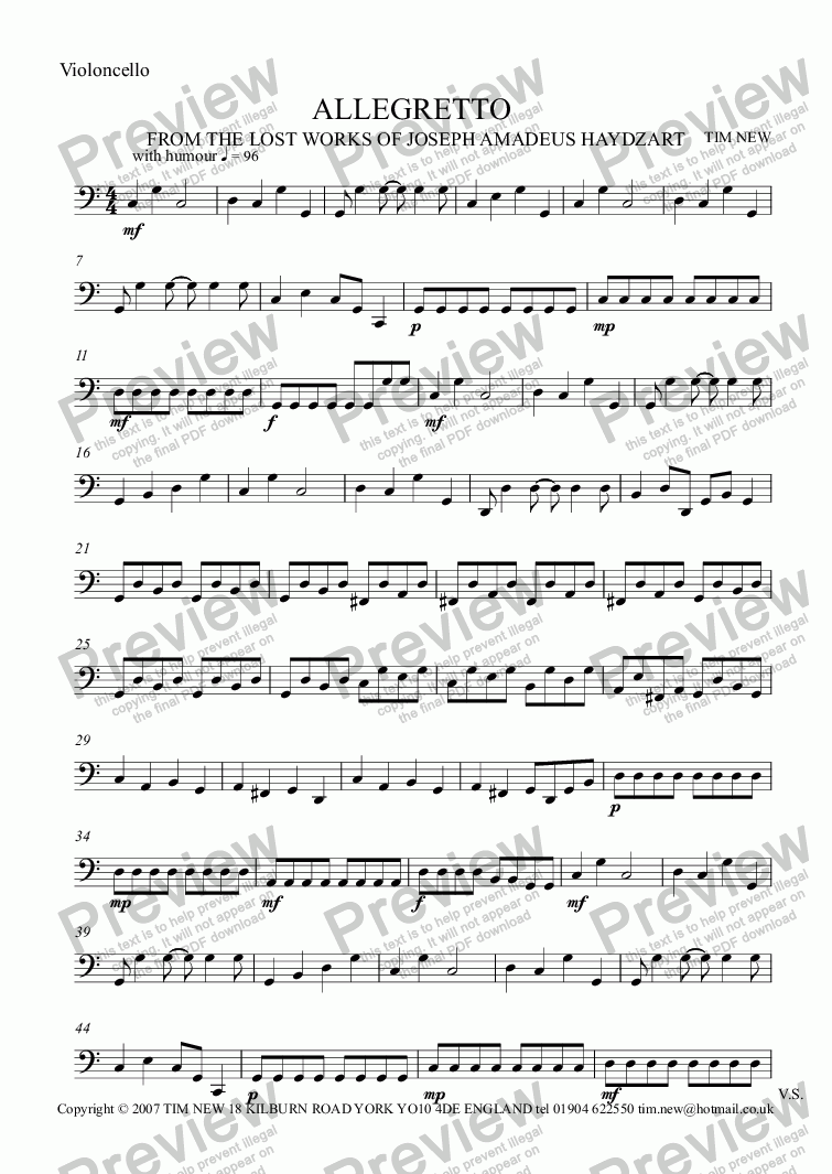 page one of the Violoncello part from ALLEGRETTO for 2 flutes (oboes, violins) and 'cello (bassoon)