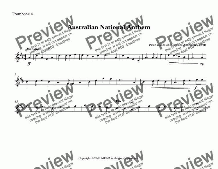 page one of the Trombone 4 part from Australian National Anthem for Brass Quintet (2 Bb Tpts, 2 Tbns & Eb Bass) Treble Clef