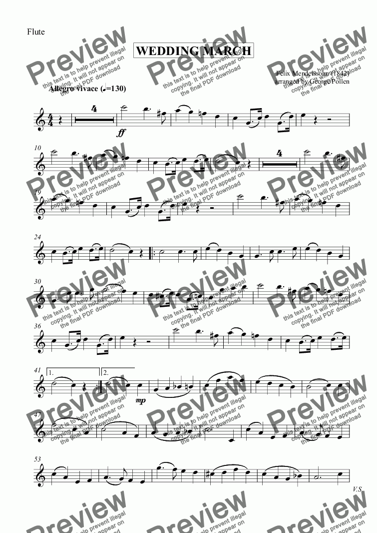 page one of the Flute part from Wedding March