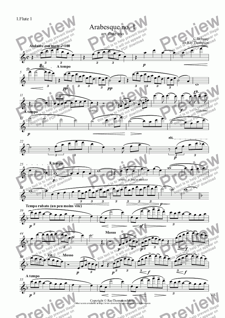 page one of the 1.Flute 1 part from Debussy: Arabesque no. 1 arr.flute trio