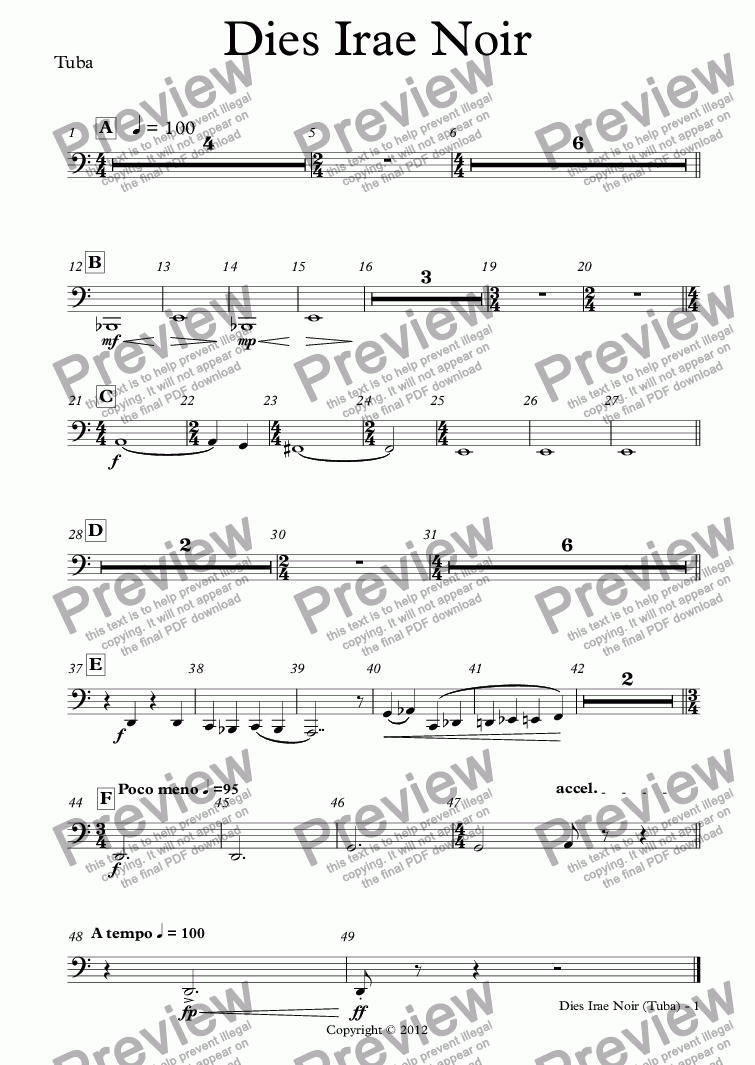 page one of the Tuba part from Dies Irae Noir (orchestra)